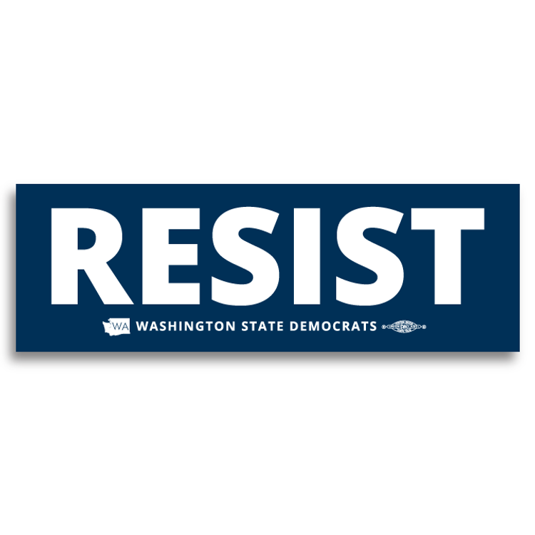 """Resist"" logo graphic on (9"" x3"" Vinyl Sticker)"