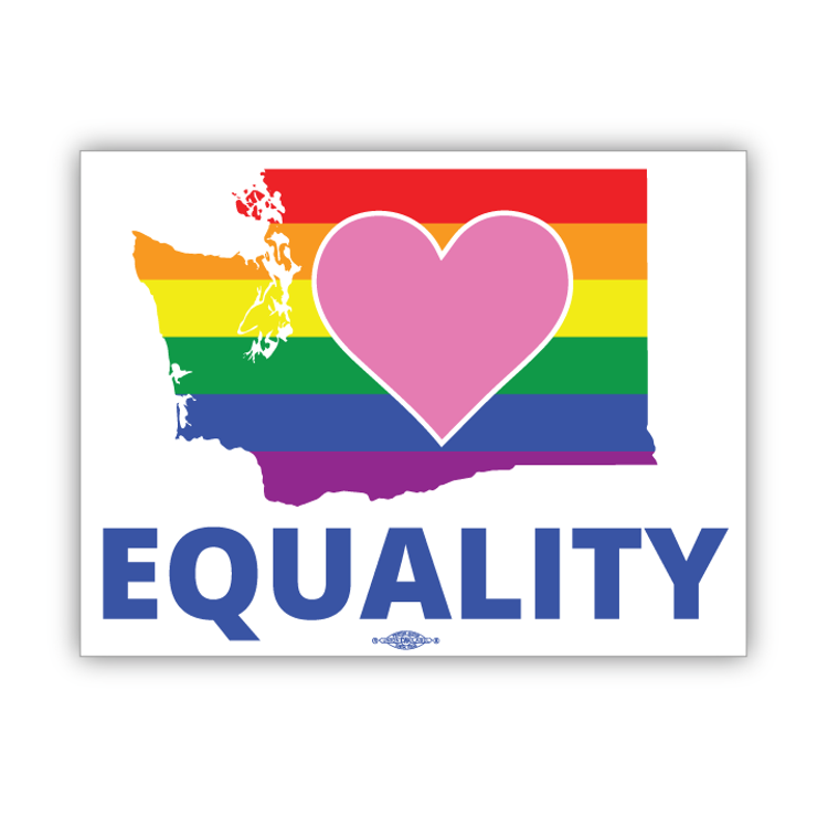 "Equality Washington Democrat  (6"" x 4.5"" Vinyl Sticker)"