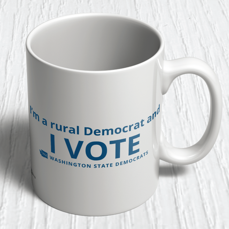 """I'm a Rural Democrat and I VOTE"" logo graphic on (11oz. Coffee Mug)"
