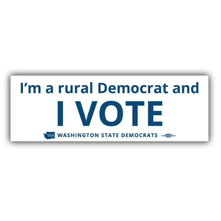 """I'm a Rural Democrat and I VOTE"" logo graphic on (9"" x 3"" Vinyl Sticker)"