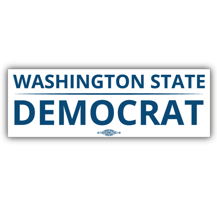 """Washington State Democrat"" logo graphic on (9"" x 3"" Vinyl Sticker)"