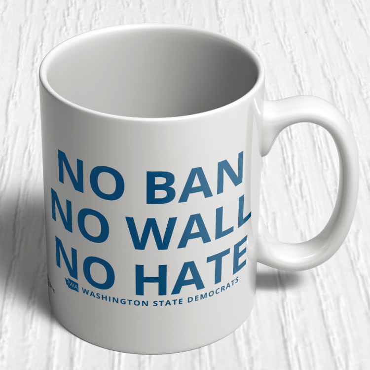 """No Ban, No Wall, No Hate"" logo graphic on (11oz. Coffee Mug)"