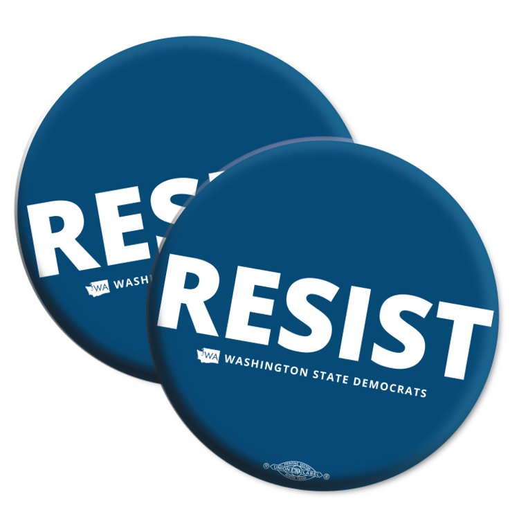 """Resist"" logo graphic on (2.25"" Mylar Button -- Pack Of Two!)"