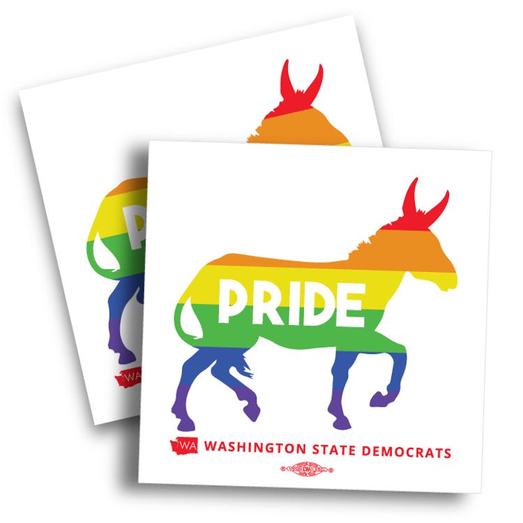 """Pride Donkey Logo (4"""" x 4"""" Vinyl Sticker -- Pack of Two!)"""