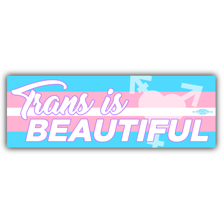 "Trans Is Beautiful (9"" x 3"" Vinyl Sticker)"