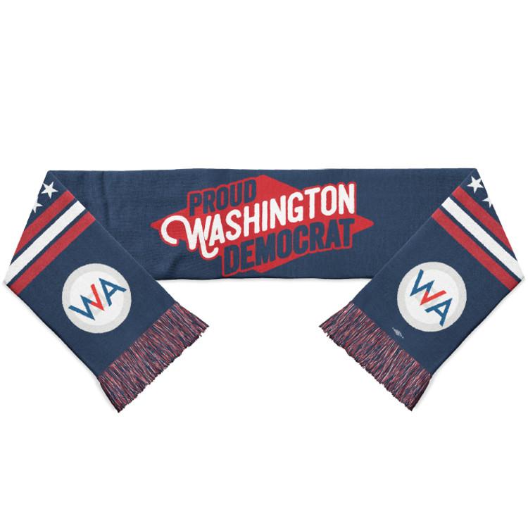 """Proud Washington Democrat ( Navy Knit Scarf - 60"""" x  8"""")"""