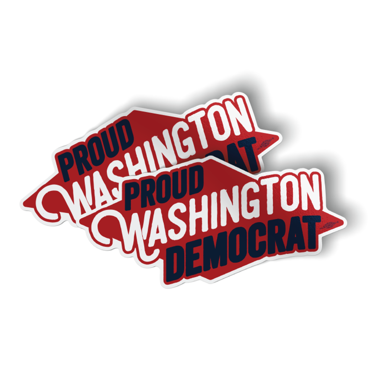 "Proud Washington Democrat (6"" x 3"" Vinyl Sticker -- Pack of Two!)"
