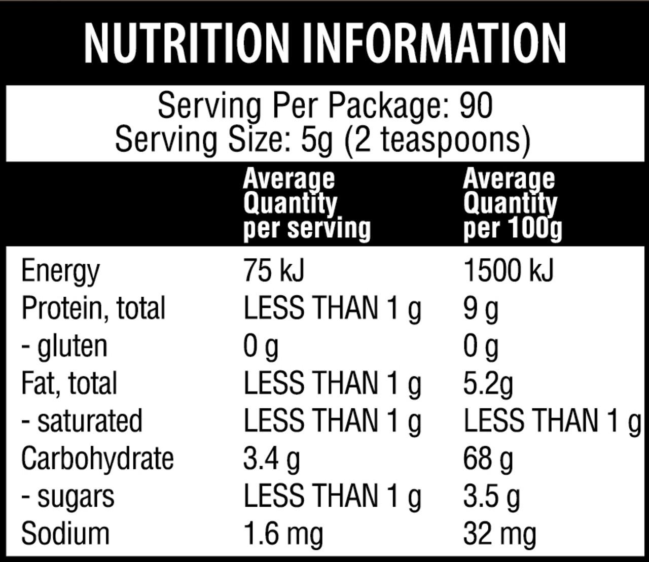 Qenda Ultimate Turmeric 450g Nutritional Panel