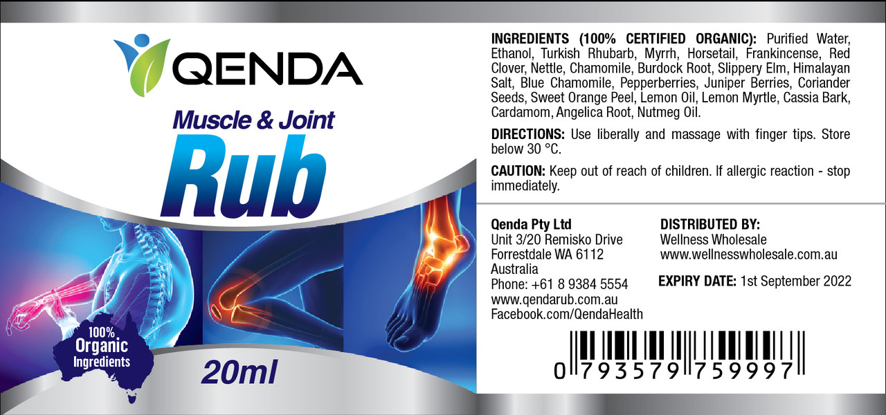 Qenda Muscle & Joint Rub - 20ml - Label