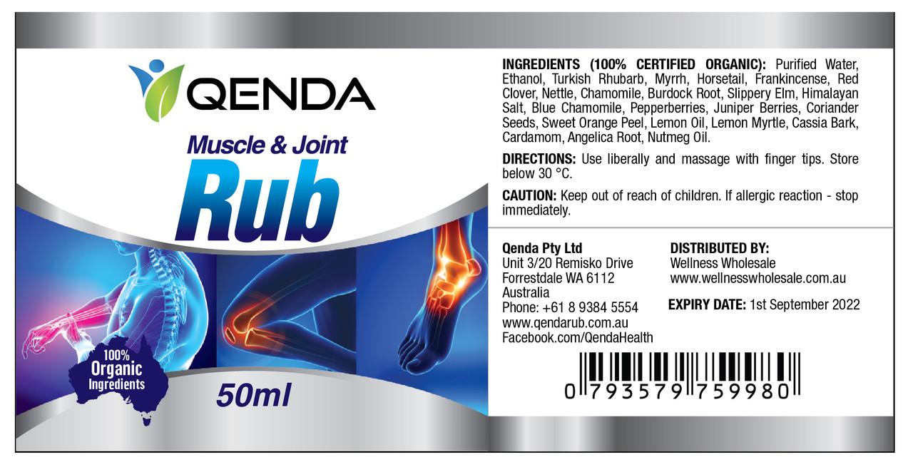 Qenda Muscle & Joint Rub - 50ml - Label