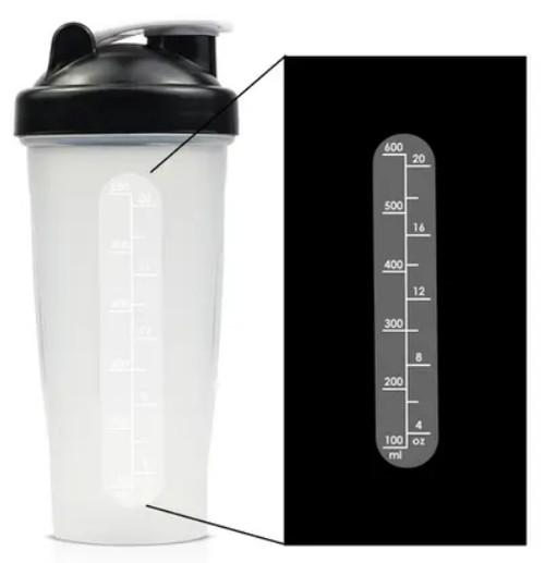 Shaker Bottle with Stainless Steel Wire Mixer Ball - Black - 600ml
