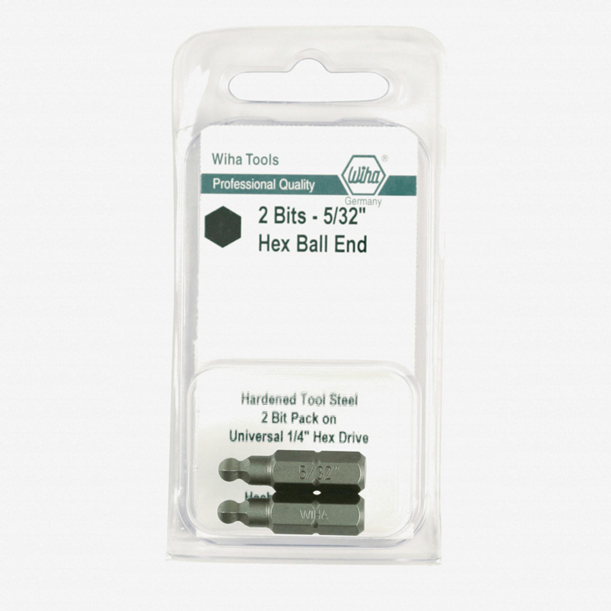 """Wiha 71715 5//32/"""" Ball End Hex Insert Bit 2 Pack"""