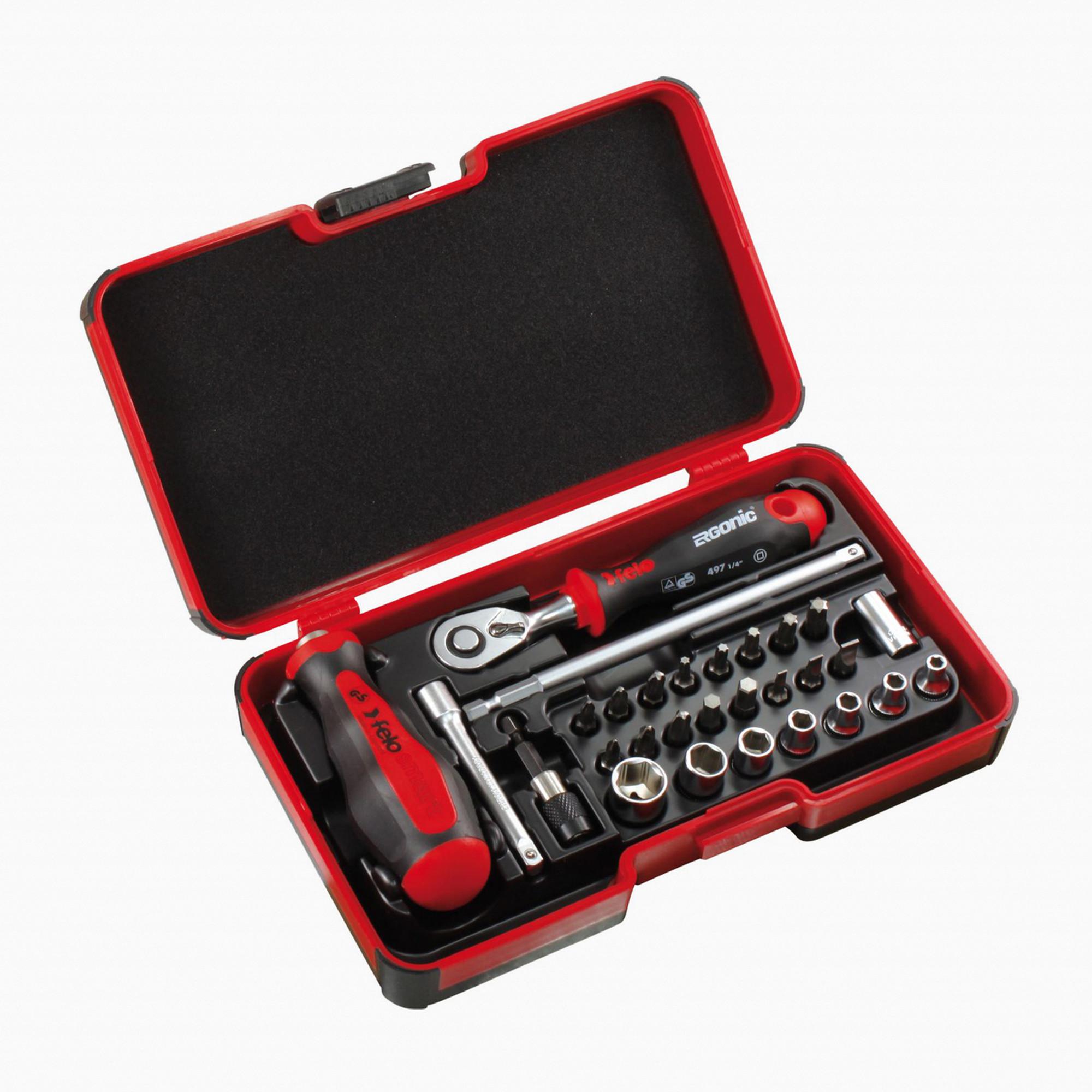 "Socket Bit Set Metric Ratchet Handle 27pc 1//4/"" Drive Bit Set Phillips Torx Hex"