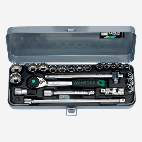 """Heyco 0411010 SAE 12 Point 3/8"""" Drive Socket Set with Ratchet, 23 Pieces - KC Tool"""