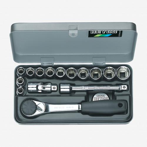 "Heyco 0431010 SAE 12 Point 3/8"" Drive Socket Set, 15 Pieces - KC Tool"