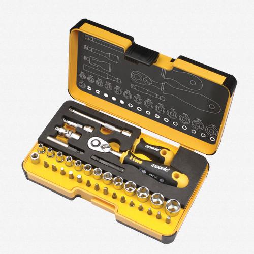 Felo 62053 Felo R-GO XL 36 piece Box Sockets, Bits Ergonic Ratchet, INCH - KC Tool