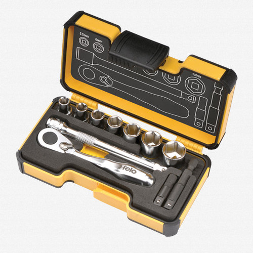 Felo 62057 XS 11pc Box Sockets, Mini Ratchet, Bitholder, INCH - KC Tool