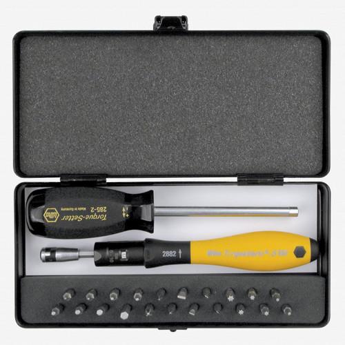 Wiha 28895 24 Piece ESD Torque ScrewDriver, Micro Bits and Handle Box Set 0.04-.46 Nm - KC Tool