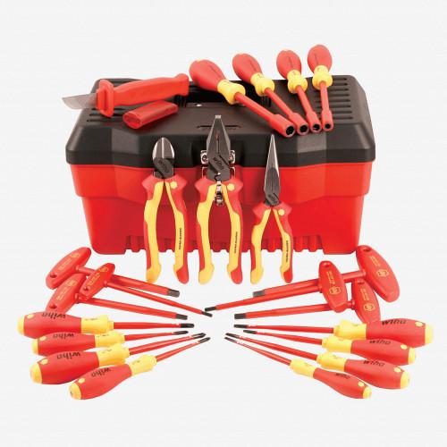 Wiha 32973 22 Piece Insulated Pliers/Cutters/Screwdriver/Nut Driver Tool Box Set - KC Tool