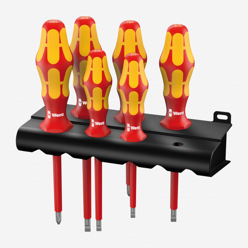 Wera 006145 VDE Insulated Slotted/Phillips Screwdriver Set + Rack - KC Tool