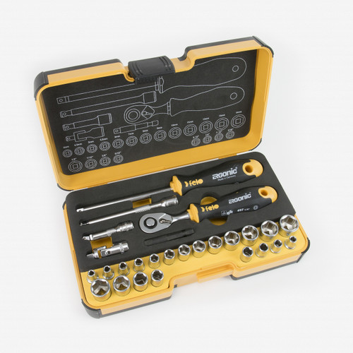 Felo 62371 R-GO 27 27pc Box Sockets, Ergonic Ratchet, Inch/Metric - KC Tool