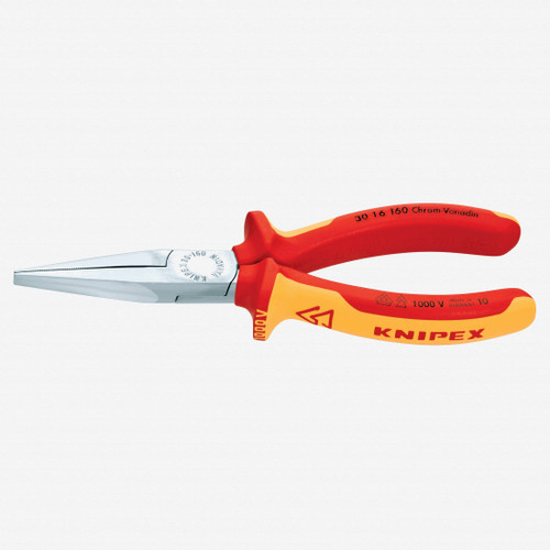 """Knipex 30-16-160 6.3"""" Long Nose Pliers (flat jaws) - Insulated - KC Tool"""