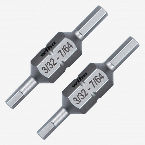"""Wiha 77723 Hex Inch 3/32 + 7/64"""" Double End Ultra Bits (2 Pack) - KC Tool"""