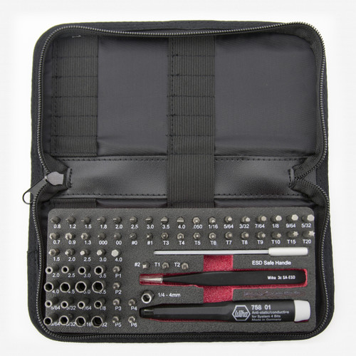 Wiha 75977 ESD Safe Micro Bit Set 68 Pieces with ESD Safe Tweezers - KC Tool