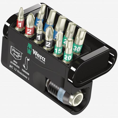 Wera 057425 Bit-Check 12 Stainless 1 - PH, PZ, TX and Hex Insert Bit Set - KC Tool