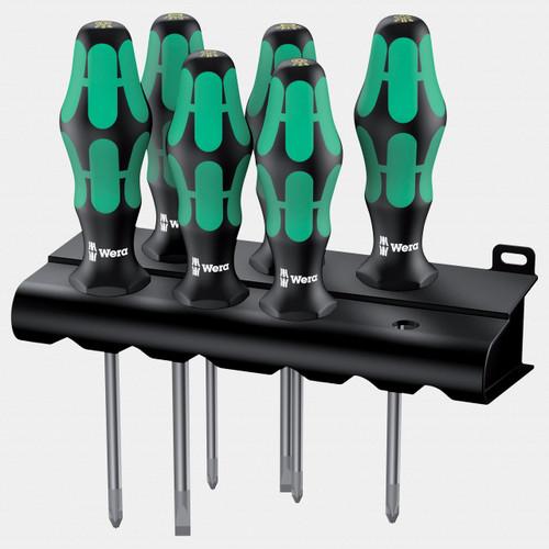 Wera 105622 Kraftform Plus Slotted/PH/PZ Screwdriver Set + Rack - KC Tool