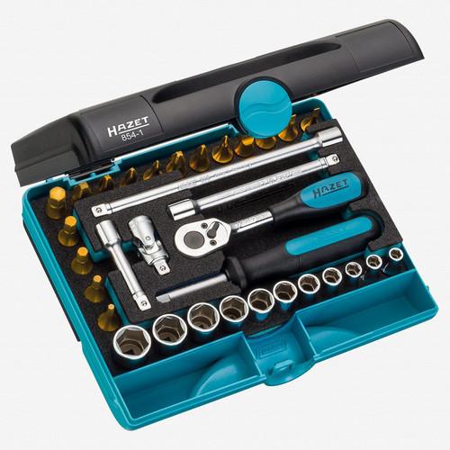 """Hazet 854-1 1/4"""" 33 Pc Socket and Bit TiN Set  - KC Tool"""