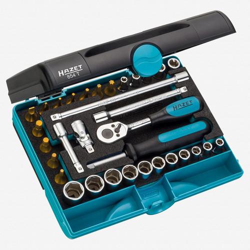 """Hazet 854T 1/4"""" 33 Pc Socket and Bit TiN Set  - KC Tool"""