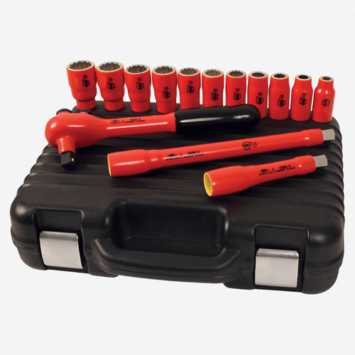 """Wiha 31792 14 Piece Insulated 1/2"""" Drive SAE Socket Set w/ Ratchet and Case  - KC Tool"""