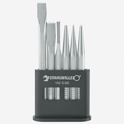 Stahlwille 102-5/6 D Chisels, pins, punches in plastic stand set - KC Tool