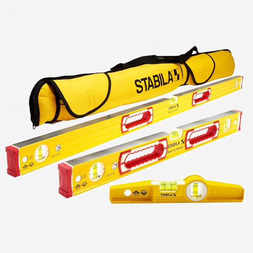 Stabila 48370 Type 196 Heavy Duty Classic Level Set, 3 Levels with Case - KC Tool