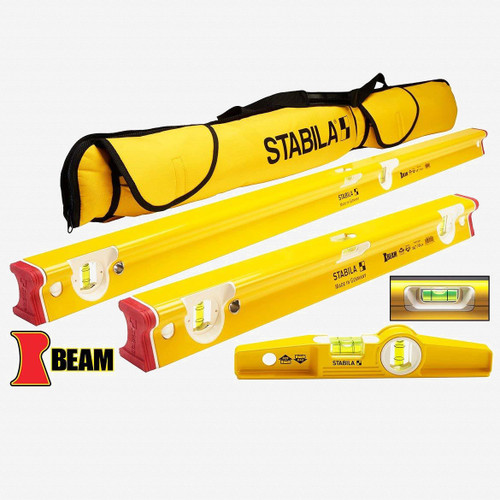 "Stabila 48410 R-Beam 3 Level Set with Case, 24""/48""/10"" Torpedo - KC Tool"