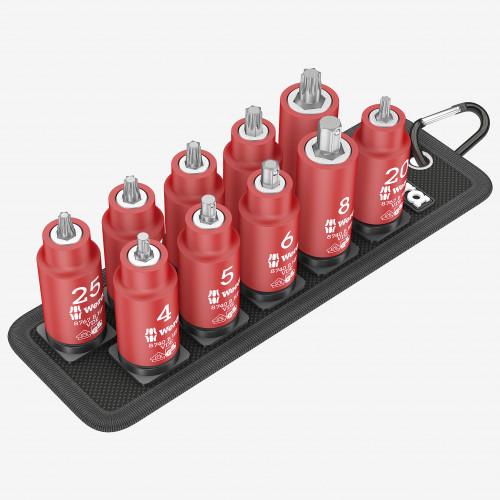 "Wera 004930 Belt B VDE Zyklop Torx/Hex Bit Socket Set with Holding Function, 3/8"" Drive, 10 Pieces - KC Tool"