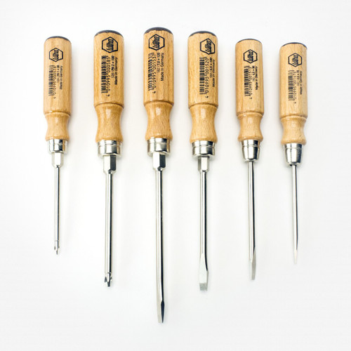 Wiha 107149 Classic Wood Handle Slotted & Phillips Screwdriver Set, 6 Pieces - KC Tool