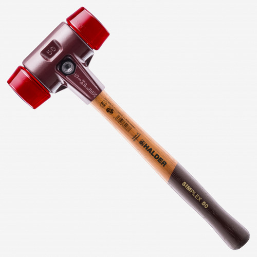 """Halder Simplex Mallet with Red Acetate Plastic Inserts and Cast Iron Housing, 1.97"""" / 39.51 oz. - KC Tool"""