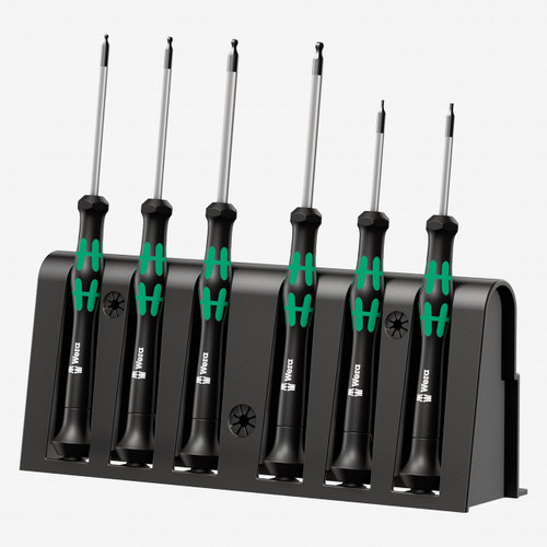 Wera 118156 Kraftform Micro Ball End Hex Metric Precision Screwdriver Set + Rack (Retail Pack) - KC Tool