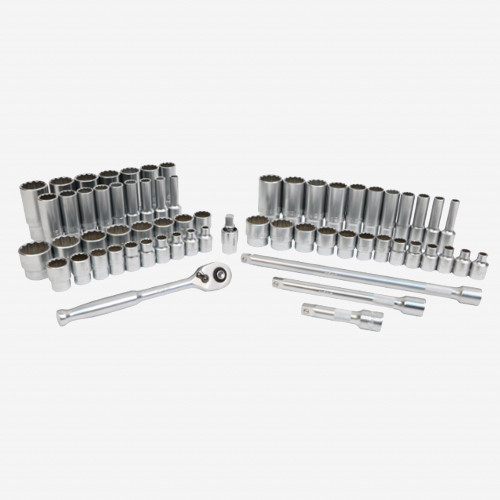 "Wiha 33799 Metric and SAE Socket Set, 12 Point 3/8"" Drive with Ratchet & Extensions, 63 Pieces (33799)"