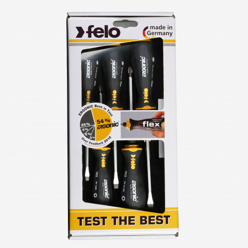 Felo 64537 Ergonic with Striking Cap Slotted & Phillips Screwdriver Set, 5 Pieces - KC Tool