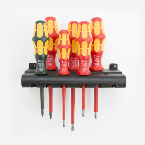 Wera 347777 VDE Insulated Slotted/Phillips/Square Screwdriver Set + Rack - KC Tool