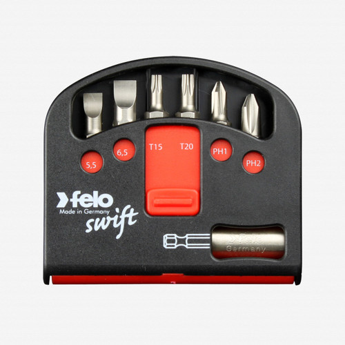 Felo 51923 Swift Box Universal 6 piece Bits & Magnetholder - Slotted, Torx, Phillips - KC Tool