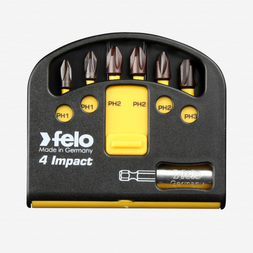 "Felo 63059 Phillips Impact Bits (6) and Bitholder in Box - PH1 (2) / PH2 (3) / PH3 (1) x 1/4"" - KC Tool"