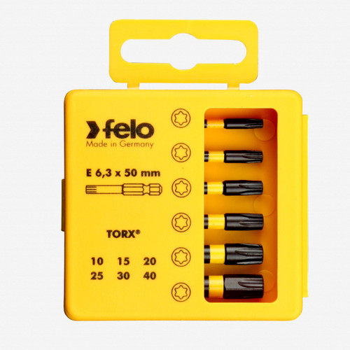 "Felo 63063 Profi Bit Box 6 Torx Bits x 2"" - T10 / T15 / T20 / T25 / T30 / T40 - KC Tool"