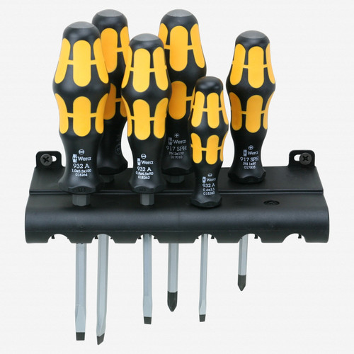 Wera 018287 Kraftform Plus Slotted/PoziDriv Screwdriver Set + Rack - KC Tool