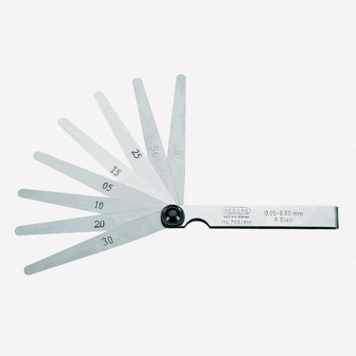 Gedore 702 8 M Feeler gauge set, fan pattern 0.05-0.50 mm - KC Tool