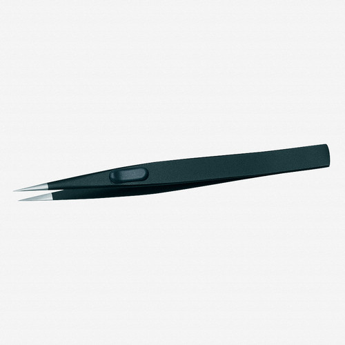 Gedore 722-1 ESD Precision tweezers, flat, satin non-glare finish, ESD - KC Tool