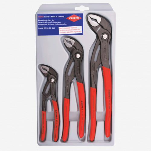 "Knipex 00-20-06-US1 3pcs Cobra Pliers Set, 7"", 10"" & 12"" - Plastic Grip - KC Tool"